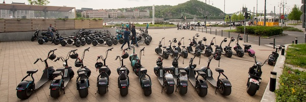 Team building on electric scooters with the view of Gellert Hill